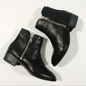 Steve Madden True Zip Black Leather Ankle Booties